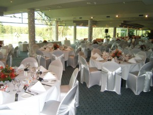 Fitted white satin 4 pillars floral centerpieces